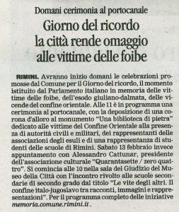 Il Corriere di Rimini 9 febbraio 2016 giorno del ricordo
