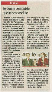 Il Corriere di Rimini 2 agosto 2014 mostra donne pci