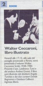 Il Resto del Carlino 18 settembre 2013 Presentazione libro Ceccaroni