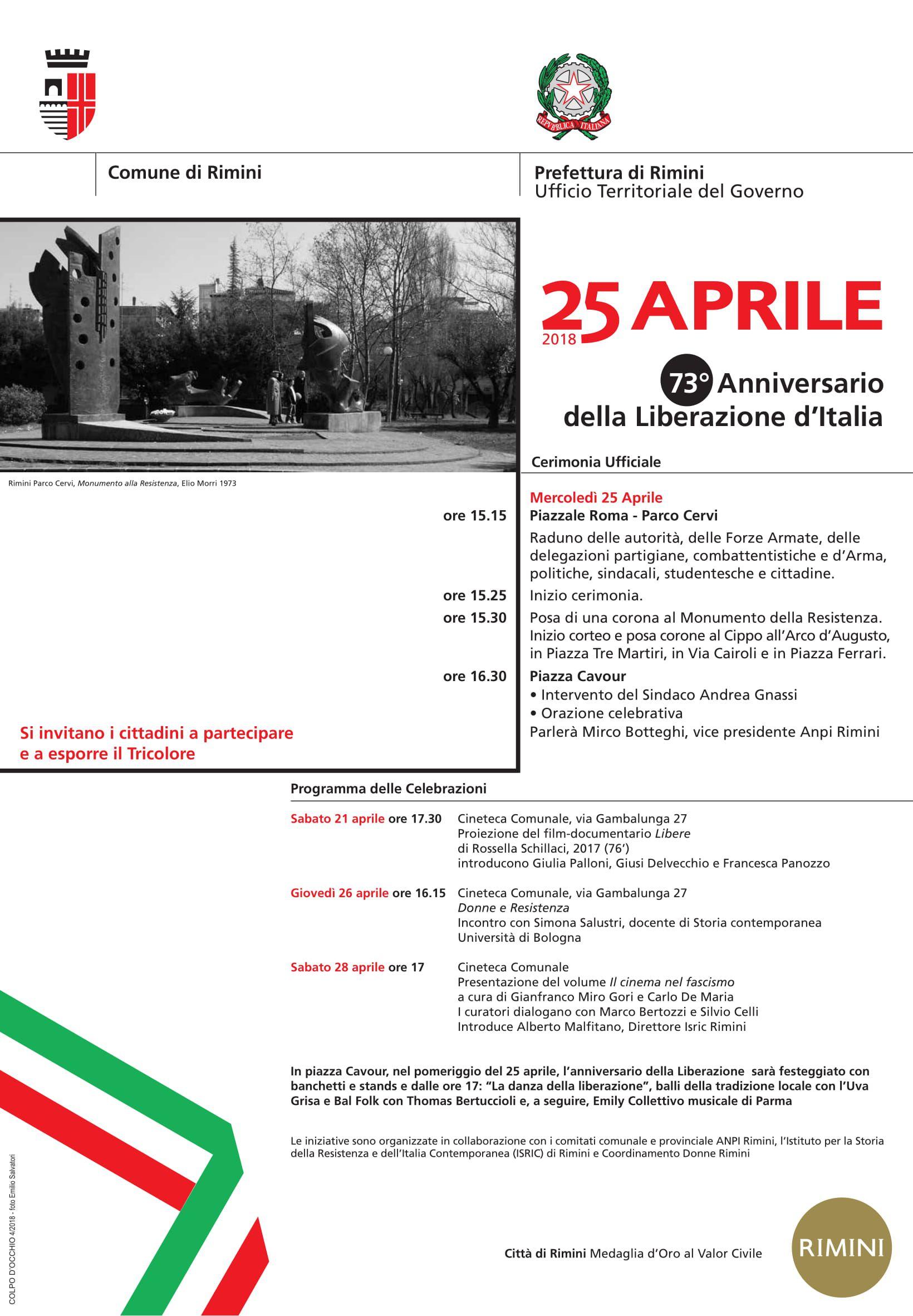 Celebrazione del 25 Aprile - 73°Anniversario della Liberazione
